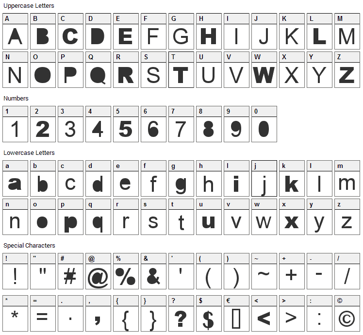 Error Font Character Map