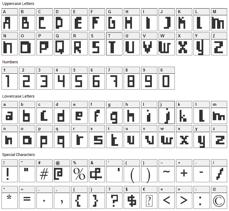 Errorize Font Character Map