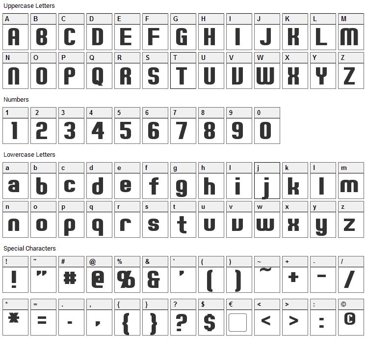Erte Font Character Map