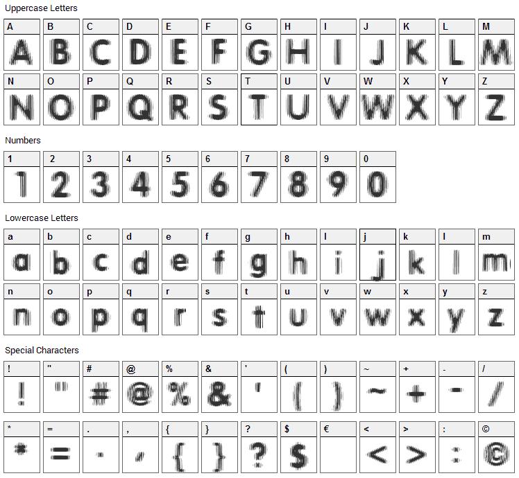 Erthqake Font Character Map