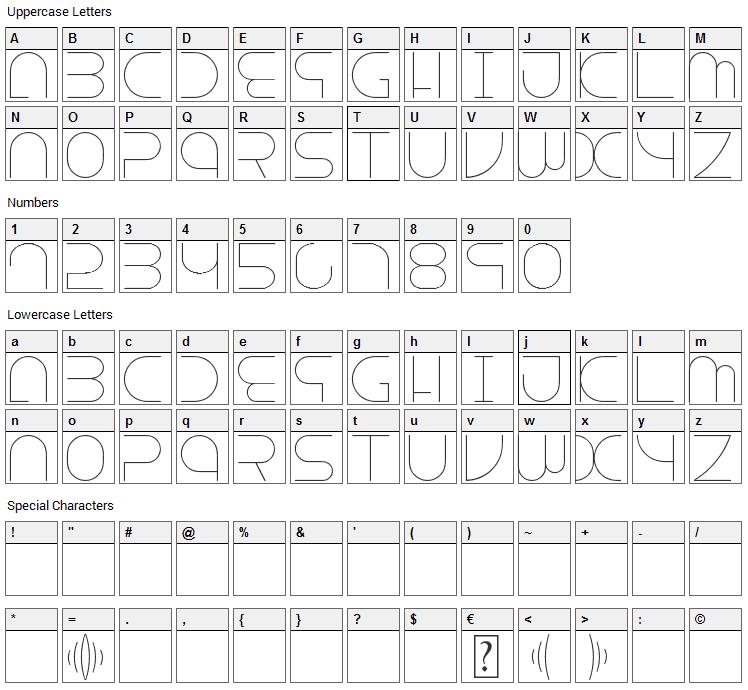Escape Font Character Map
