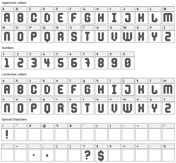Escheresk Font Character Map