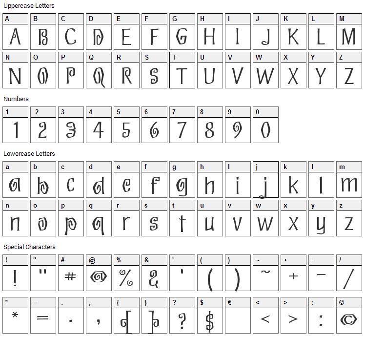 Eskargot Font Character Map