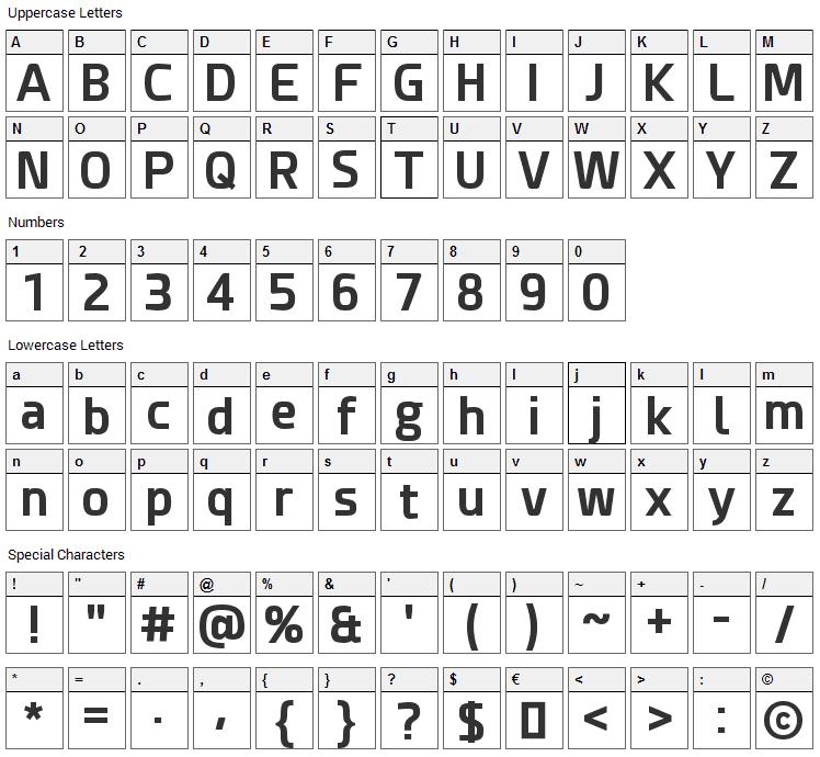Esphimere Font Character Map