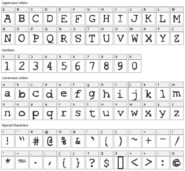 Espionage Font Character Map
