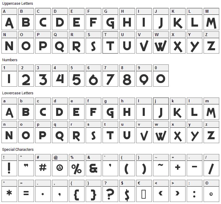 Espresso Shack Font Character Map