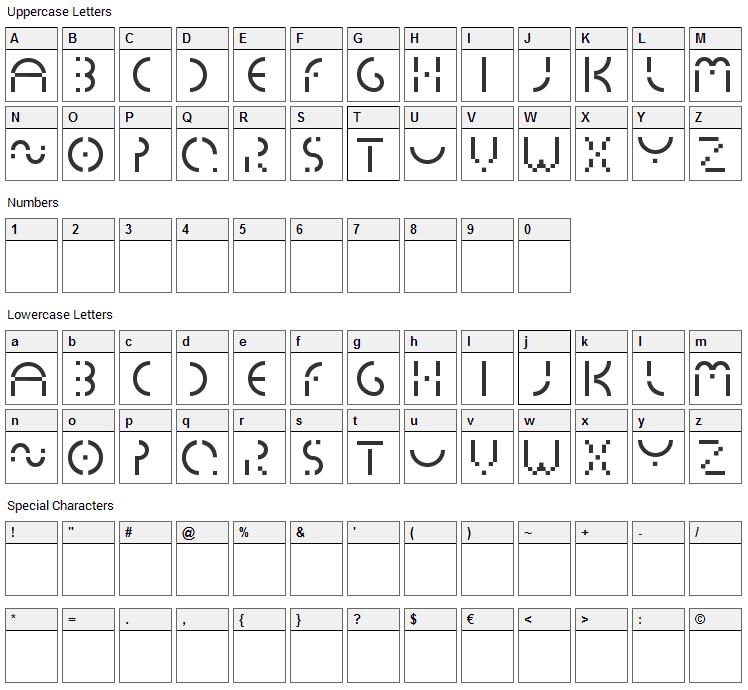 Essedicom Font Character Map