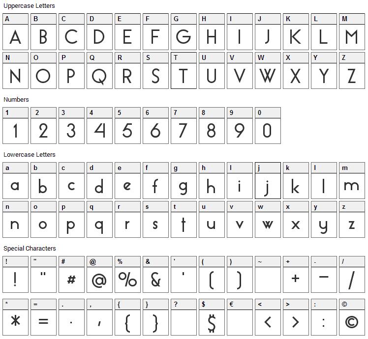 Essence Sans Font Character Map