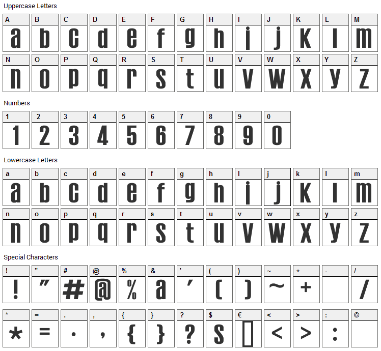 Establo Font Character Map