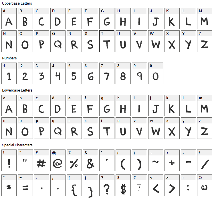 Estoy Bueno Font Character Map