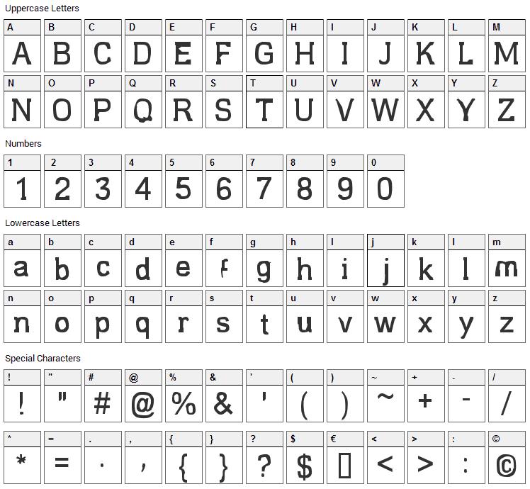 Estragou de novo Font Character Map