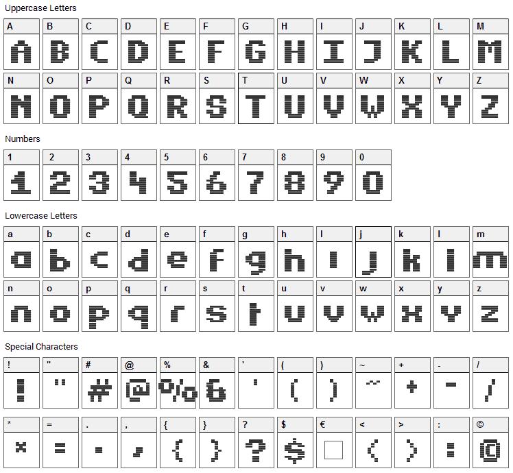 Estrogen Font Character Map