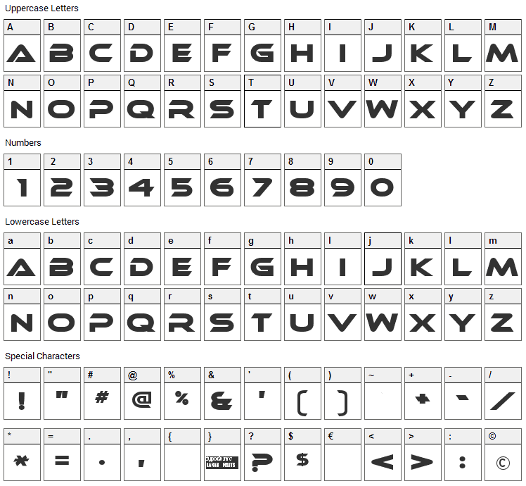 Ethnocentric Font Character Map