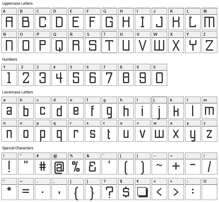 Etobicoke Font Character Map