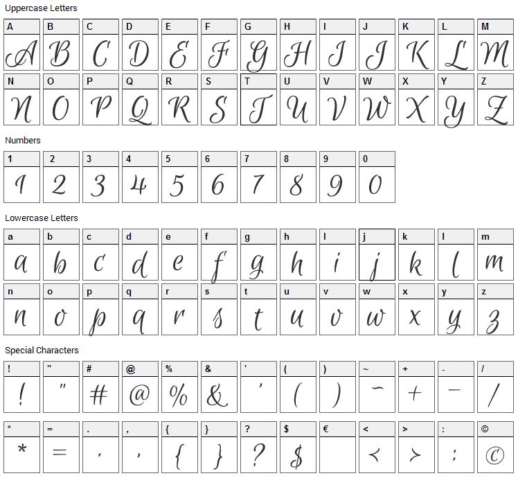 Euphoria Script Font Character Map
