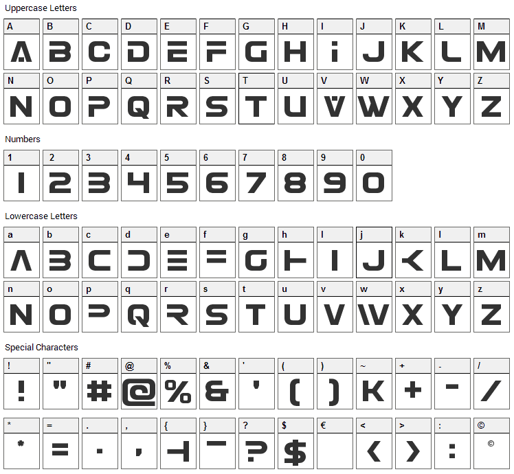 Eurofighter Font Character Map
