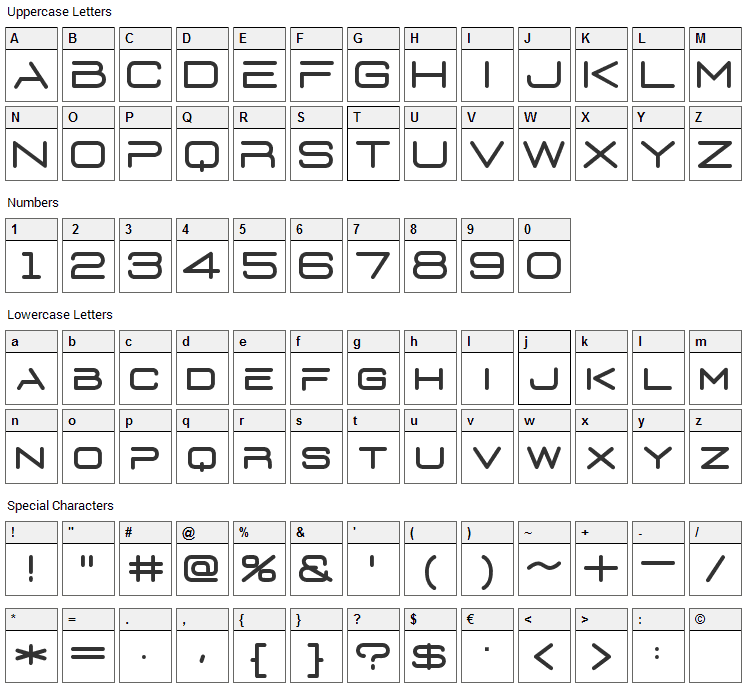 Euronism Font Character Map