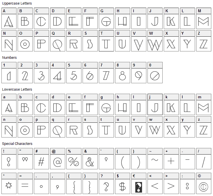 Evensong Font Character Map