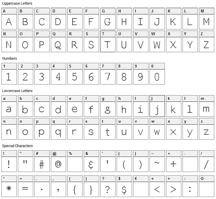 Everson Mono Latin Font Character Map