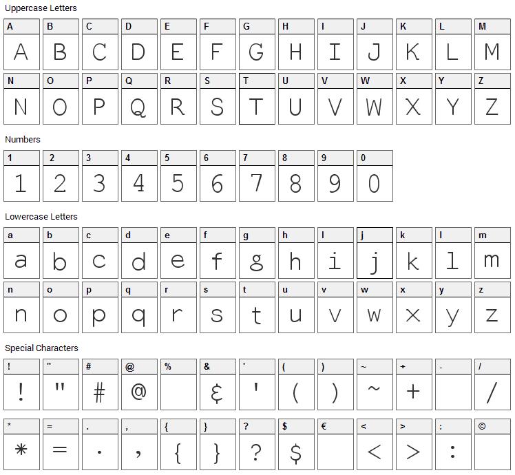 Everson Mono Latin Font Character Map