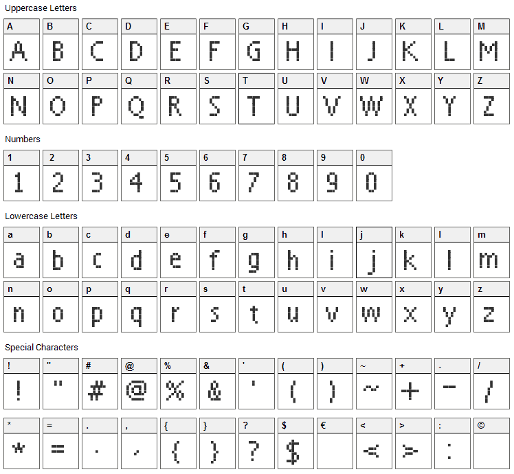 Everyday Font Character Map