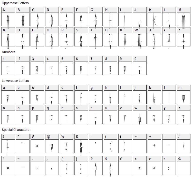 Evil Clown Font Character Map