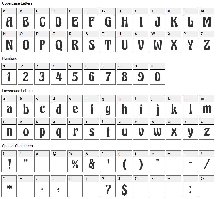 Excalibur Nouveau Font Character Map