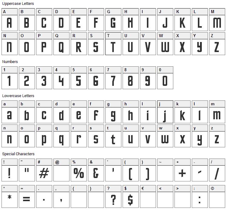 Excelsior Sans Font Character Map