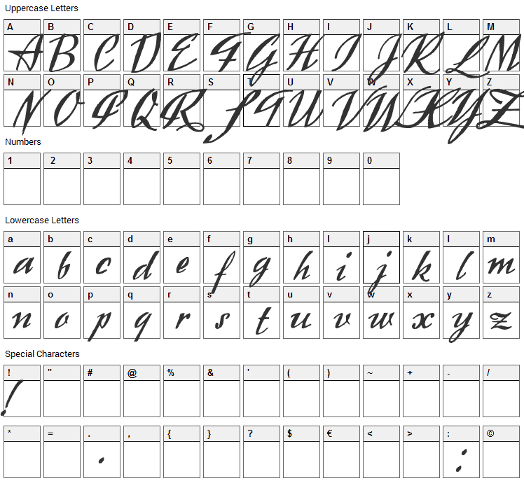 Exclusivite Font Character Map