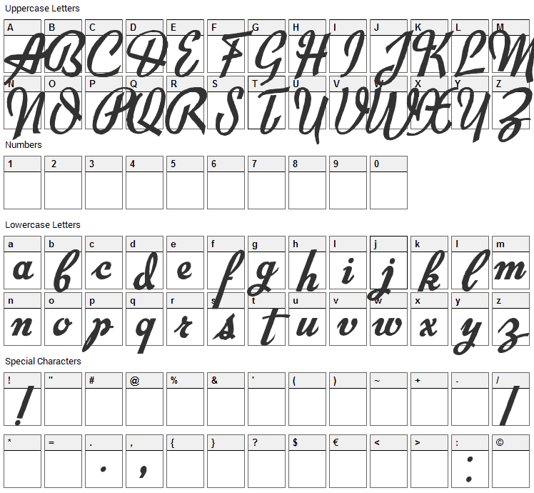 Exiles Font Character Map