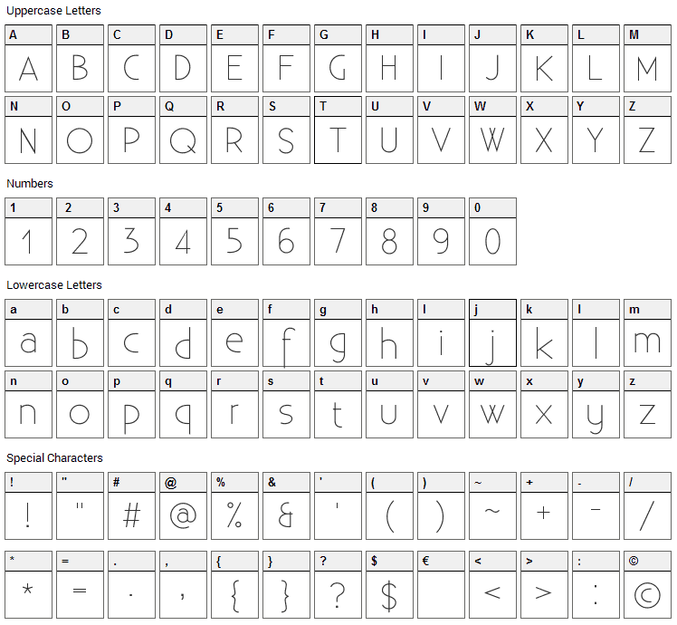 Existence Light Font Character Map