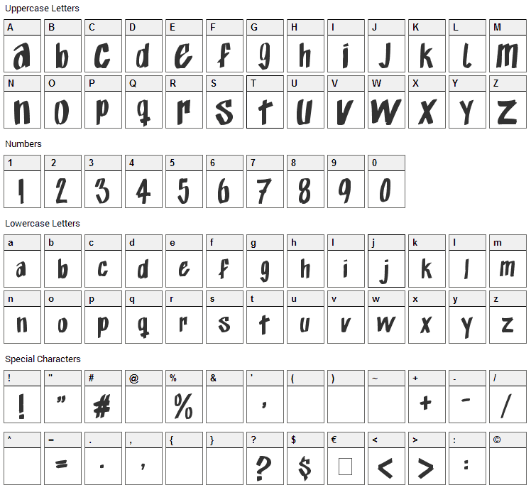 Exito Free Hand Font Character Map