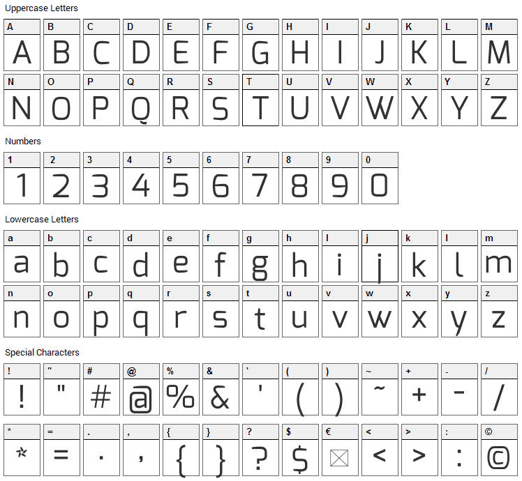 Exo Font Character Map