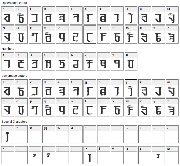 Exodite Font Character Map