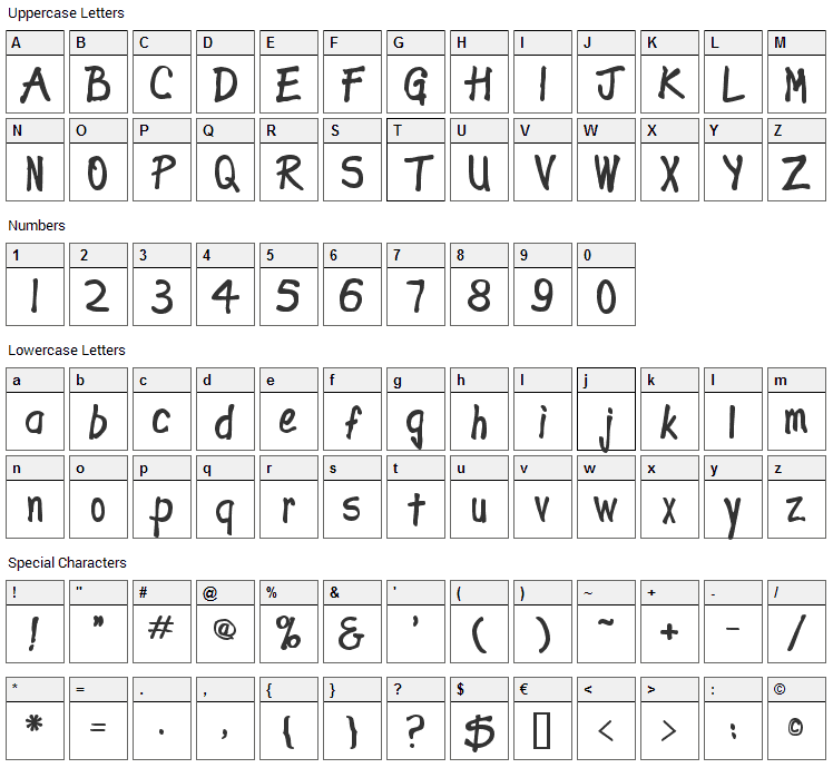 Expletive Deleted Font Character Map