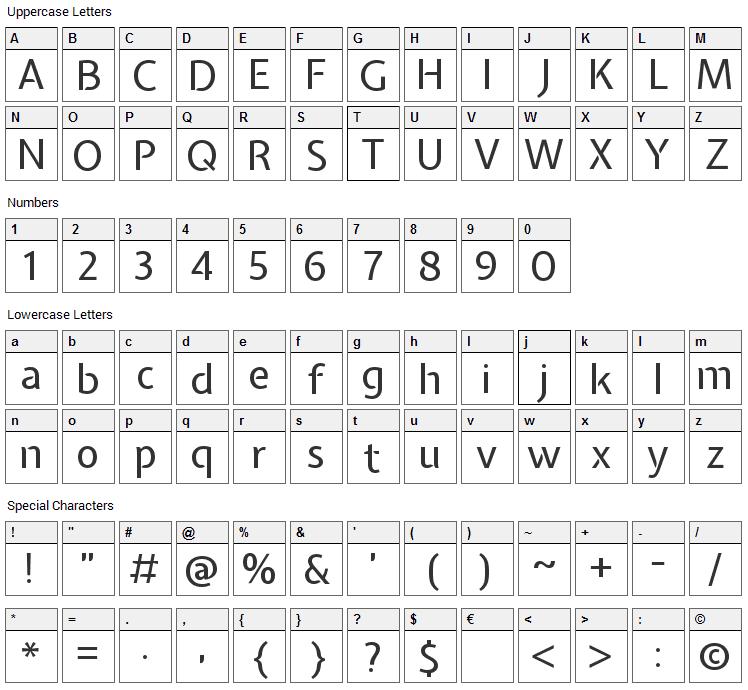 Expletus Sans Font Character Map