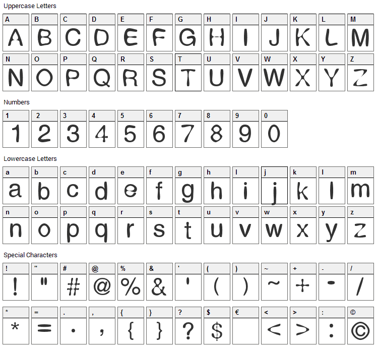 Expression Font Character Map