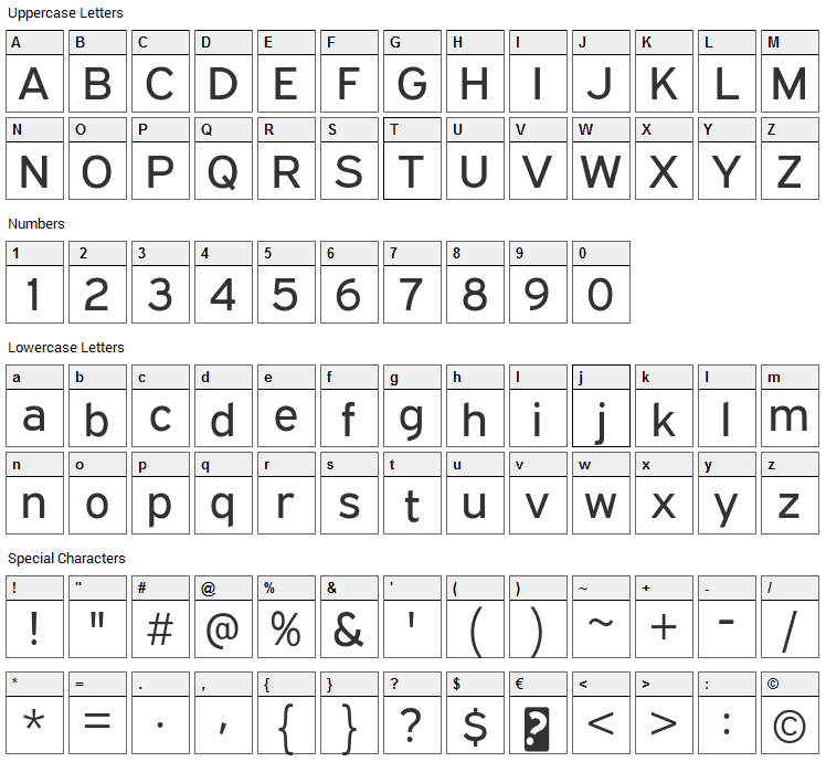 Expressway Font Character Map