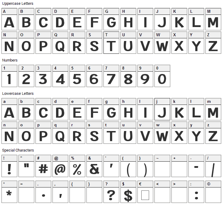Extended Play Font Character Map