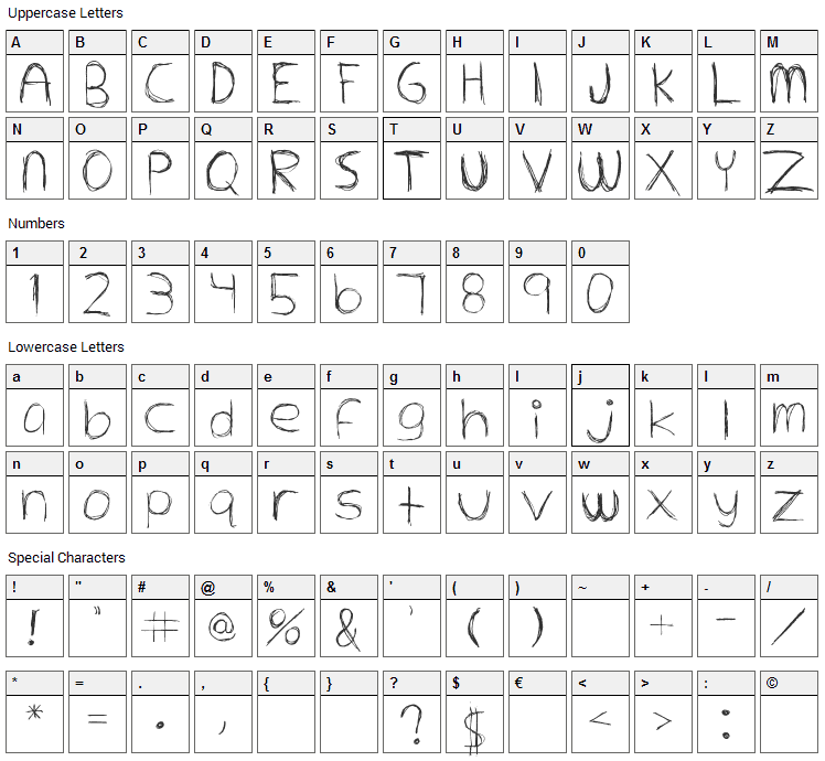 Extrafine Font Character Map
