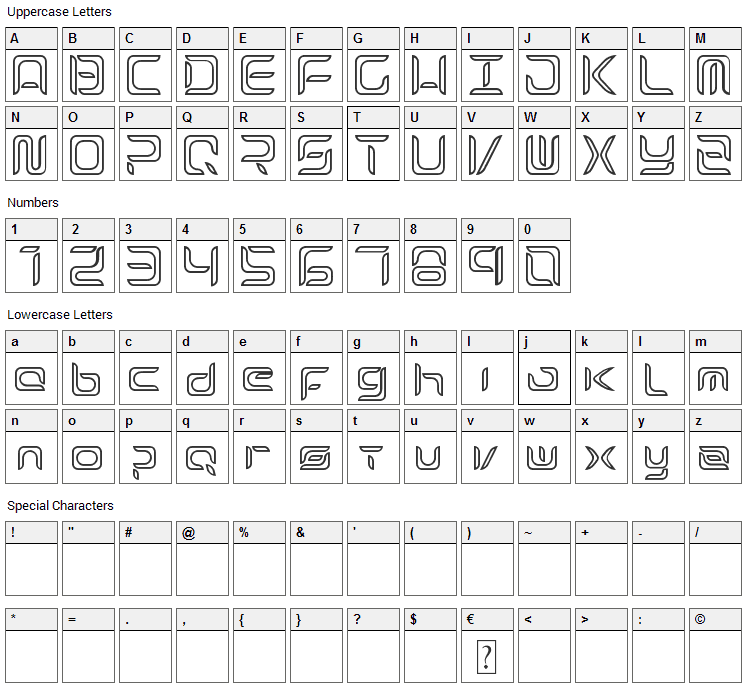 Exynos Font Character Map