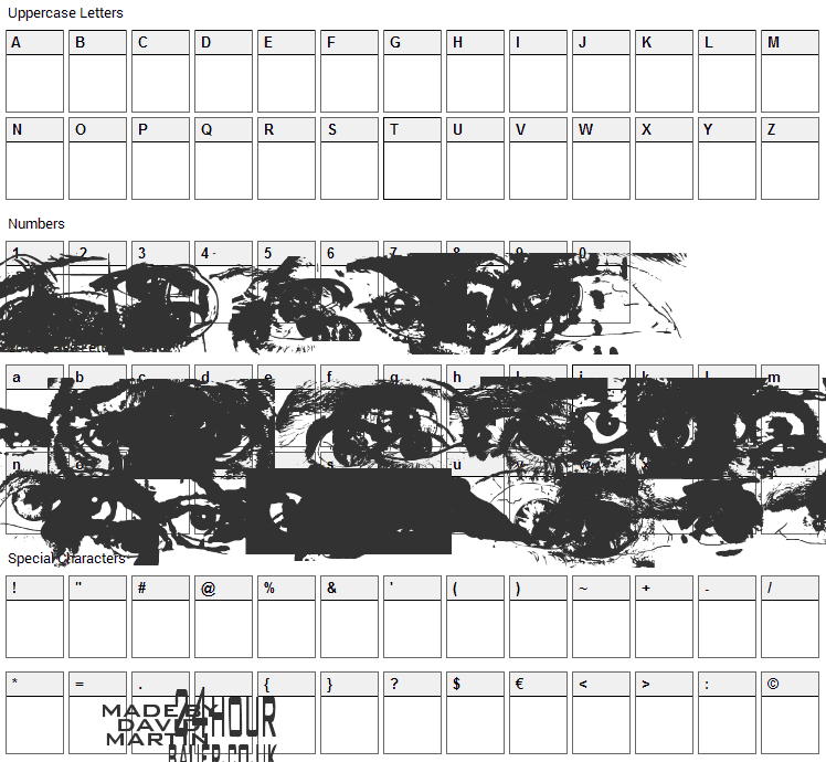 Eye Spy Font Character Map