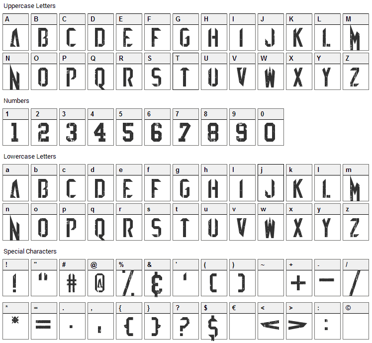 EZ Sharpz Font Character Map