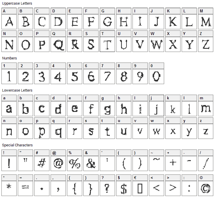 F-Stein Font Character Map