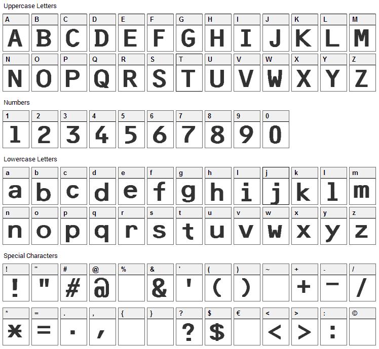 F25 Bank Printer Font Character Map