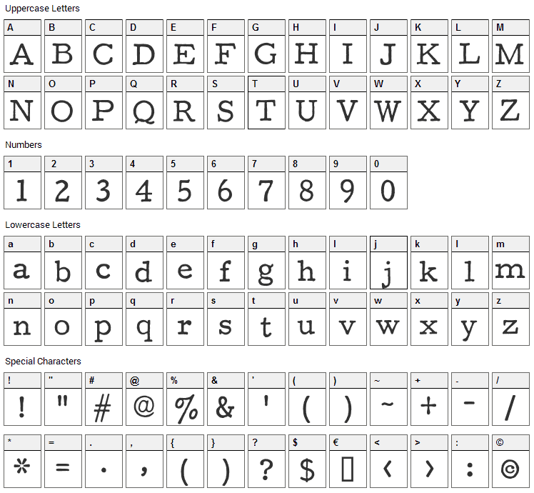 F25 Executive Font Character Map