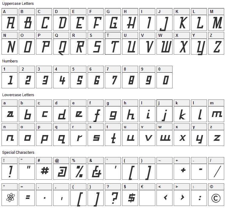 Fabian Font Character Map