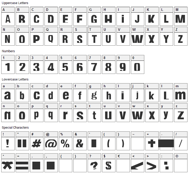 Fabianestem Font Character Map