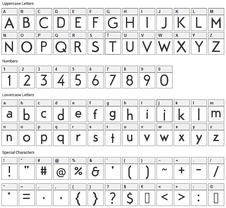 Fabrik Font Character Map