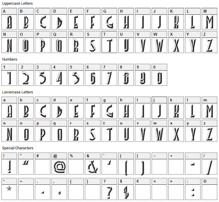 Facets Font Character Map
